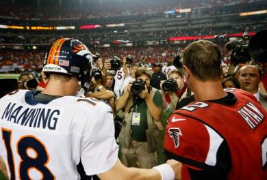 Peyton Manning's regular season vs. postseason winning percentage: .688 vs. .474. Matt Ryan's? .718 vs. .000 (0-3).