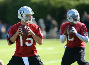 Unhappy with Carson Palmer, the Raiders are opting for a platoon of suck at the quarterback position.