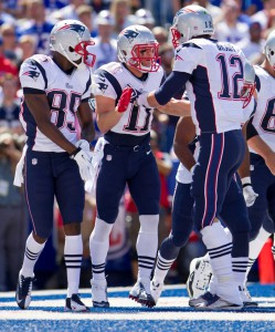 Any guesses who these guys are? It's Brady and his top two receivers. Yep, he's got a worse receiving core than his